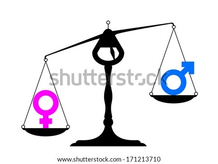 simpe illustration of a balance with icons for man and woman on equal ground preferring the woman's site, symbol for gender equality, eps10 vector - stock vector