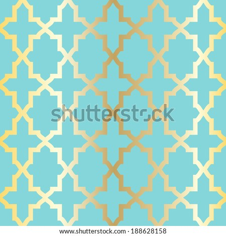 Simple abstract arabesque pattern - turquoise and golden. - stock vector