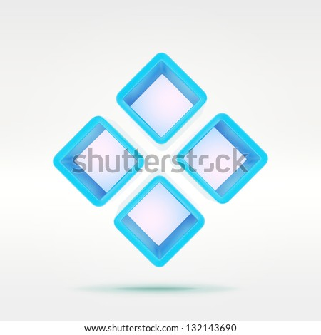 Simple abstract background vector composition as four blue empty shelf boxes over light background