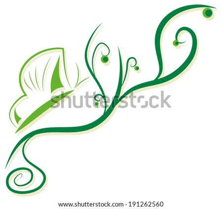 simple abstract pattern with green doodles and butterfly - stock vector
