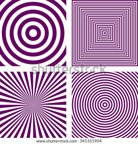 Simple abstract purple striped pattern background set - stock vector