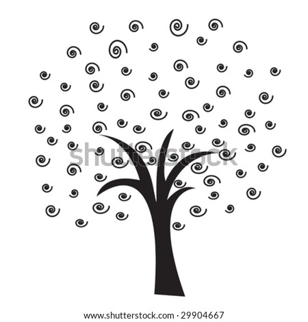 Simple abstract tree as a background - stock vector