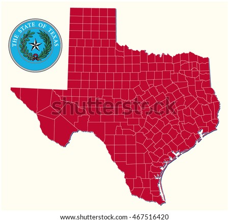 Simple Administrative Political Map Seal Us Stock Vector - Texas political map