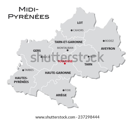 simple administrative map Midi-Pyrenees