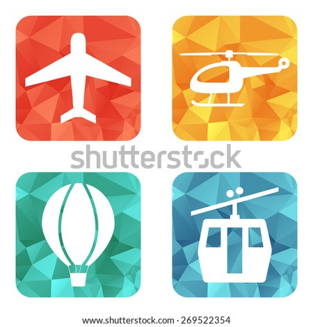 Simple airline service transport related icons vector - stock vector