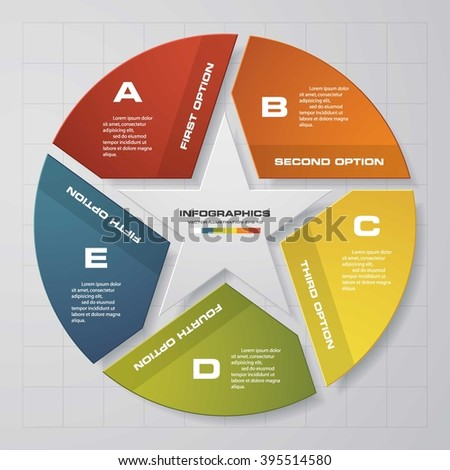 Simple and Editable 5 Steps Vector Progress Background. with star shape in the middle. EPS10. - stock vector