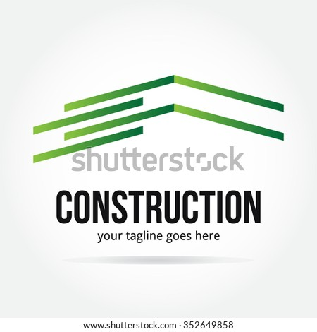simple and elegant construction logo design - stock vector