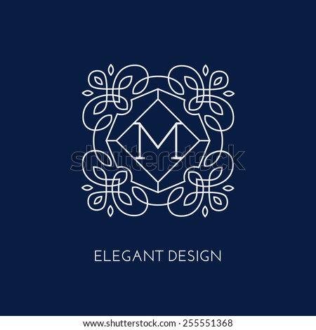 Simple and elegant monogram design template for a single letter M. Vector illustration. - stock vector