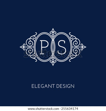 Simple and elegant monogram design template for two letters P S. Vector illustration. - stock vector