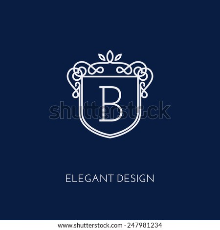 Simple and elegant monogram design template with letter B. Vector illustration. - stock vector