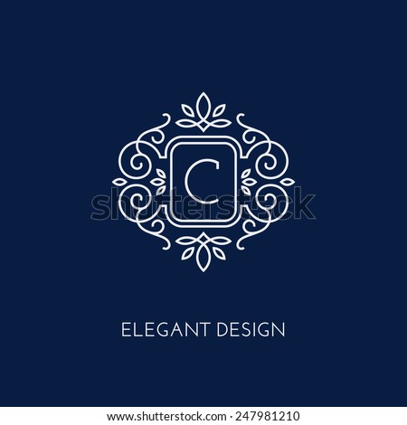Simple and elegant monogram design template with letter C. Vector illustration. - stock vector