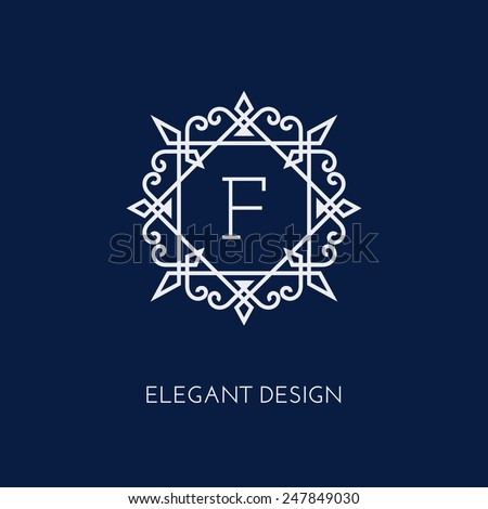 Simple and elegant monogram design template with letter F. Vector illustration. - stock vector