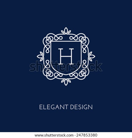 Simple and elegant monogram design template with letter H. Vector illustration. - stock vector