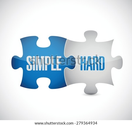 simple and hard puzzle pieces sign illustration design over white - stock vector