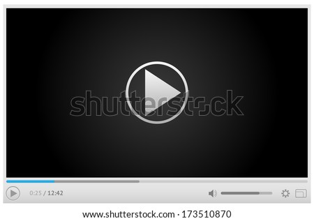 Simple and style light video player for web with one button play pause. All elements are conveniently grouped. - stock vector
