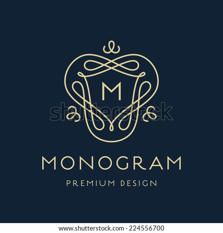 Simple and stylish monogram design template, Elegant lineart logo design, vector illustration - stock vector