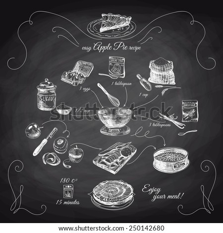 Simple Apple pie recipe. Step by step.Hand drawn illustration with apples, eggs, flour, sugar. Homemade pie, dessert. Chalkboard. - stock vector