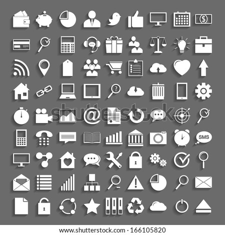 Simple application icons in Flat Design with shadow. - stock vector