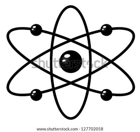 Simple atom symbol. Atomic mark, emblem - stock vector