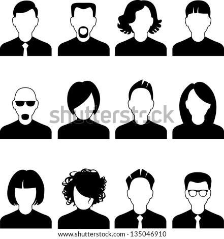 Simple avatar icons of various business people. - stock vector