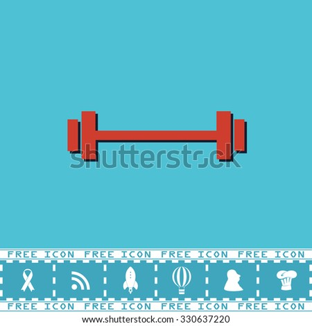 Simple Barbell. Red flat symbol with dark shadow and bonus icon. Simple vector illustration pictogram on blue background