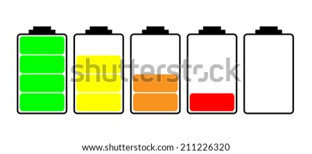 simple battery display icon with reducing charge levels - stock vector