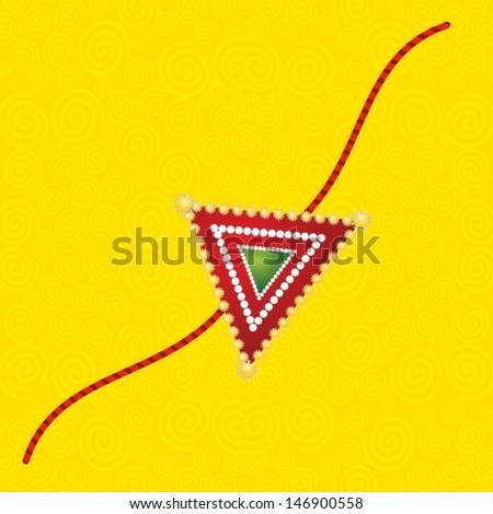 Simple & beautiful Hindu Rakhi on Colourfull Background - stock vector