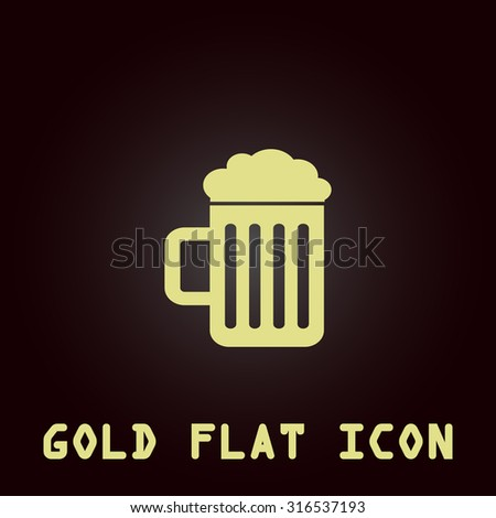 Simple Beer mug. Gold flat vector icon. Symbol for web and mobile applications for use as logo, pictogram, infographic element
