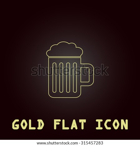 Simple Beer mug. Outline gold flat pictogram on dark background with simple text.Vector Illustration trend icon