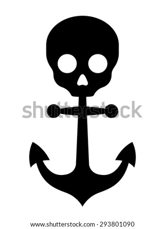 Simple black anchor icon with skull symbol on top on white background illustration - stock vector