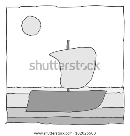 Simple black and white icon with boat on the sea. Vector illustration.