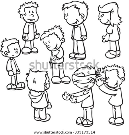 simple black and white kids playing blind man's buff cartoon