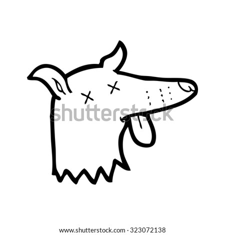 simple black and white line drawing cartoon  dead dog face - stock vector