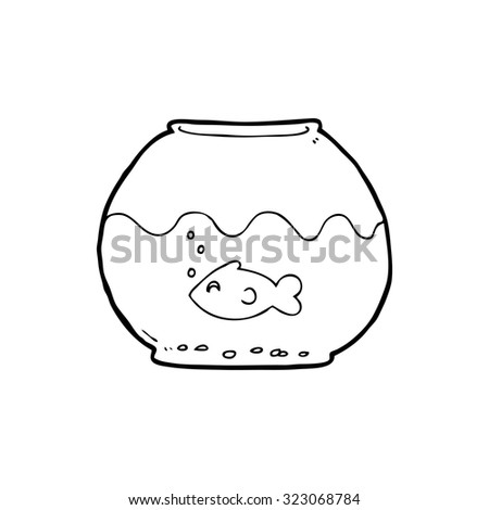 simple black and white line drawing cartoon  fish in bowl - stock vector