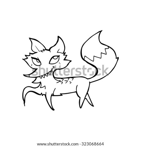 simple black and white line drawing cartoon  fox - stock vector