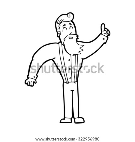 simple black and white line drawing cartoon  hipster