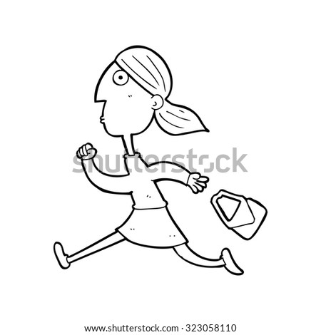simple black and white line drawing cartoon  running woman stressed - stock vector
