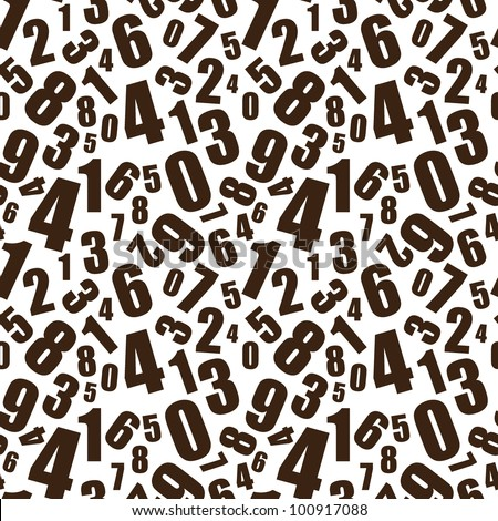Simple black and white numbers seamless background pattern - stock vector