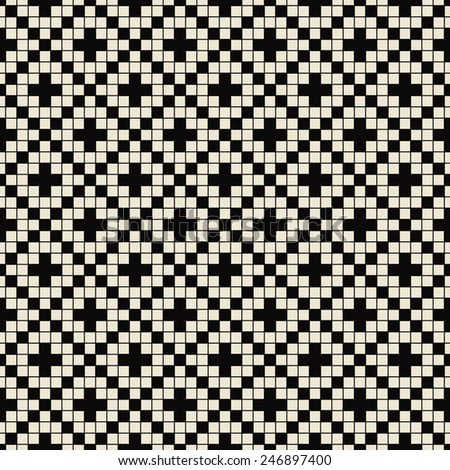 simple black and white pixelated pattern. can by tiled seamlessly. - stock vector