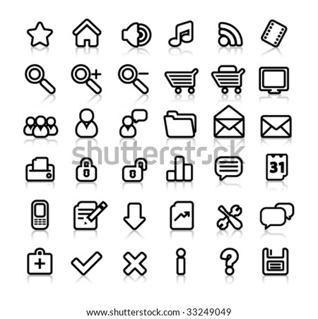simple black and white web icons with reflection - stock vector
