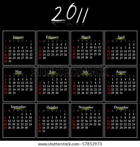 Simple black calendar of 2011. Vector illustration. - stock vector
