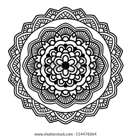 simple floral mandala black on white stock vector 304520510 shutterstock. Black Bedroom Furniture Sets. Home Design Ideas