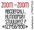 Simple black font, numbers and punctuation marks. Vector set  - stock vector