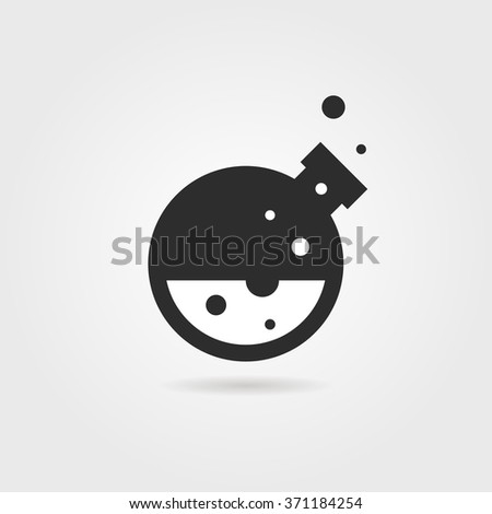 simple black lab icon with shadow. concept of creativity, material synthesis, process, assay, toxic, industry. isolated on gray background. flat style trend modern lab logo design vector illustration - stock vector