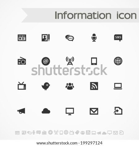 Simple black on white information icons - stock vector