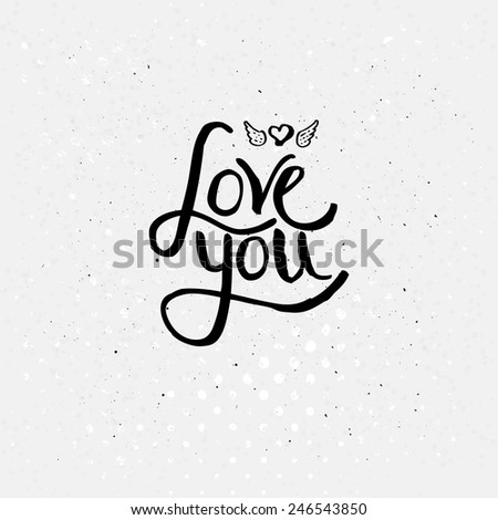 Simple Black Texts for Love You Concept with Winged Heart on Dotted Off White Background. - stock vector