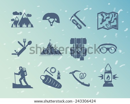 Simple black  vector icons set . Quality design illustrations, elements and concept. Climbing icons. Set #2 - stock vector