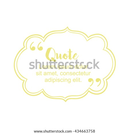Simple block quote frame, bubble or box and pull quote design elements. Text frame empty template. Business card template, paper sheet, information. Print design. Quote form. Vector illustration - stock vector