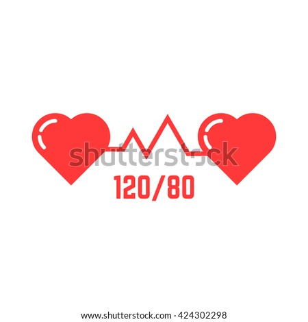 simple blood pressure icon. concept of abstract ecg, indicator, measure, systolic, love, tonometer emblem, disease. flat style trend modern red logotype design vector illustration on white background - stock vector