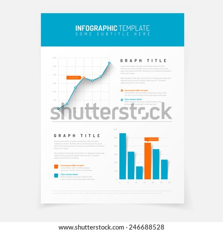 Simple blue and red  infographic template with flat design graphs and charts - stock vector